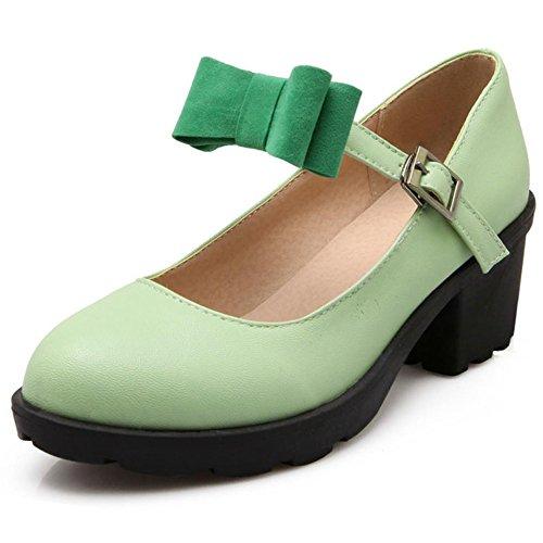 COOLCEPT Mujer Moda Correa de Tobillo Boca Baja Zapatos Cerrado Bombas Medio Tacon Ancho Zapatos con Bowknot Verde