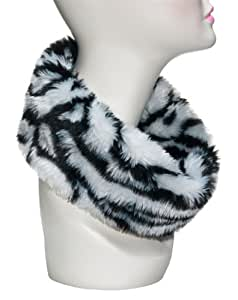 Three Cheers for Girls Faux Fur Reversible Scarf, Zebra Stripe