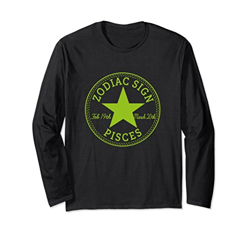 Unisex ZODIAC SIGN PISCES Horoscope Astrology Long Sleeve T-Shirt Small Black
