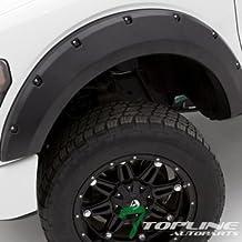 Topline Autopart Matte Black Pocket Style Rivet Fender Flares Wheel Cover Kit 6P Jr 09-14 Ford F150 by Topline_autopart