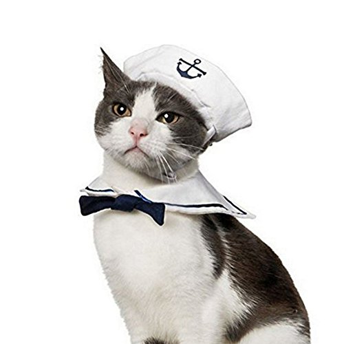 Vevins Pet Dog Cat Cosplay Costume Sailor Hat Navy Bow Tie Funny Christmas Halloween Clothing for Puppy Kitten Small Dog ()