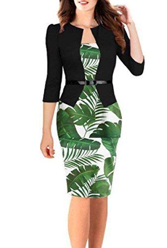 Coolred-femmes Travail De Bureau D'impression Business Moulante Faux Twinset Robe Midi As3