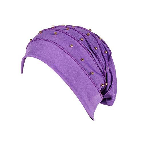 5330cb9e Yezijin Women Beading India Hat Muslim Ruffle Cancer Chemo Beanie Scarf  Turban Wrap Cap