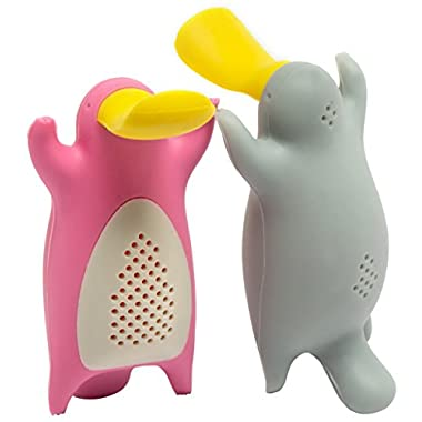 Tea Infuser Gift Set for Loose Leaf Tea, Cute Platypus Tea Strainer Couple, Set of 2, Grey and Pink