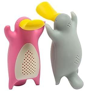 Infusor de té Set de regalo Mr and Mrs té para té, infusor de té de silicona de pareja en un conjunto de 2, Color Gris y Rosa