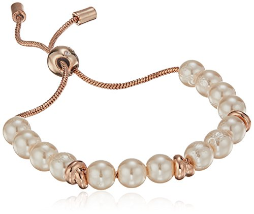 Kenneth Cole New York Womens Rose Gold Pearl and Knot Bracelet, Blush, One Size