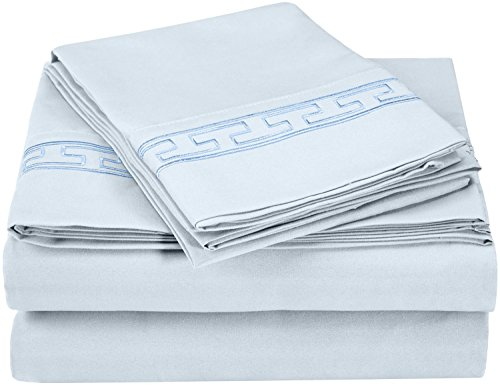 Superior Regal Greek Key Embroidered Sheets, Luxurious Silky Soft, Light Weight, Wrinkle Resistant Brushed Microfiber, Twin XL Size 3-Piece Sheet Set, Light Blue - Embroidered Fitted Sheet
