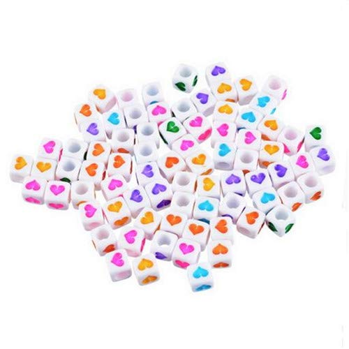 300PCs Mixed Beads White Heart Acryl Cube Acrylic Beads for Accessories Charms Fashion Jewelry Making Women Needlework