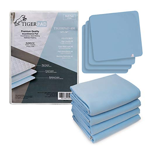 Tigerpad 4-Pack Washable Incontinence Bed Pads. Waterproof Reusable Underpads, Machine Washable Bed Wetting Pads for Toddlers, Adults and Pets 34