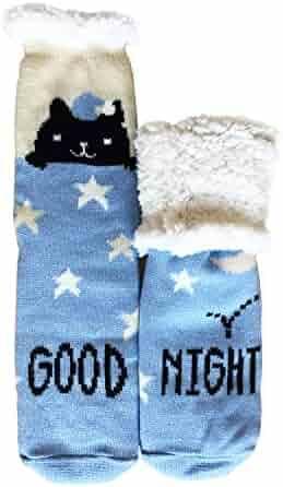 ec69f1dedaa Womens Fleece Lining Fuzzy Soft Knee Highs Stockings Slipper Socks Thick  Knit Winter Christmas Socks