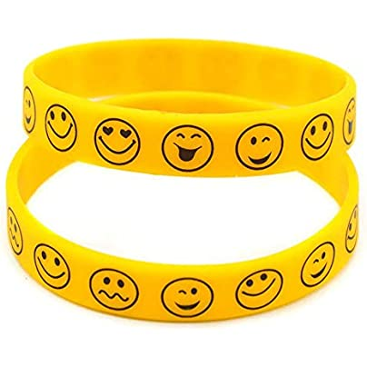 Sxuefang Silicone Bracelets With Logo Smile Face For Kids Motivation Rubber Wristbands Set Pieces Estimated Price £29.99 -