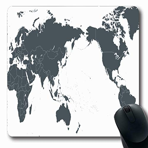 Tobesonne Mousepads Oceania World Map Outline Contour Asia in Europe Center USA Continents Countries Design Ocean Oblong Shape 7.9 x 9.5 Inches Non-Slip Gaming Mouse Pad Rubber Oblong ()