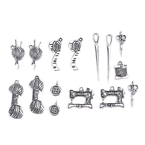 (Monrocco 32 pcs Sewing Charms Collection, Antique Silver Craft Supplies Jewelry Findings Making Accessory for DIY Necklace Bracelet)