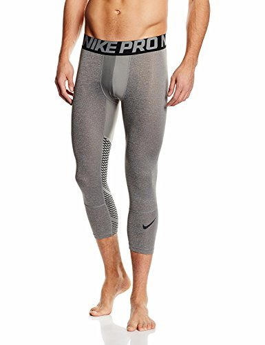 NIKE Men's Pro 3 Quarter Tights (X Large, heather/Grey/Grey/Black/Black)