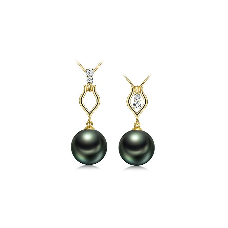 "Organic Gem Diamond Motif 10.5mm French Tahitian Black Cultured Pearl Pendant Necklace 17"""