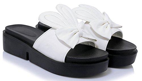 Noeud Mignon Epais Aisun Blanc Ouvert Bout Femme Mules RBw84qa