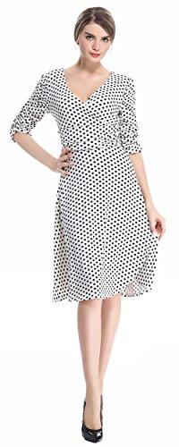 U-shot - Vestido de fiesta para mujer, escote de pico, diseño retro Dot White