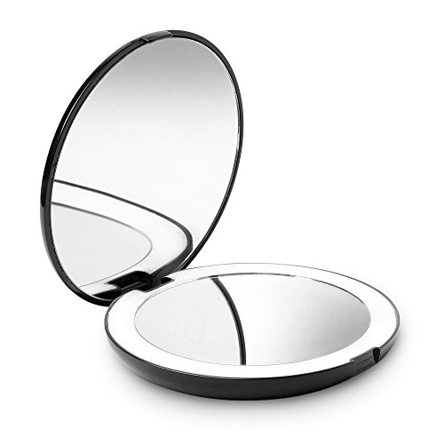 "Magnification Purse Mirror (Fancii LED Lighted Travel Makeup Mirror, 1x/10x Magnification - Daylight LED, Compact, Portable, Large 5"" Wide Illuminated Folding Mirror)"