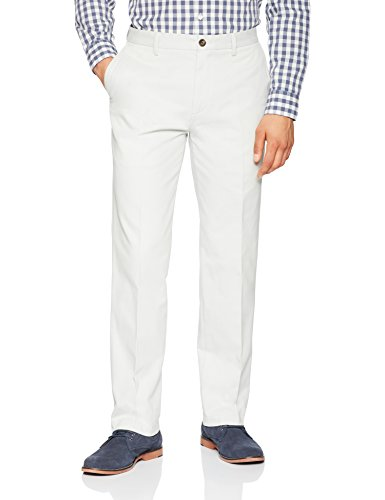 Amazon Essentials Men's Classic-Fit Wrinkle-Resistant Flat-Front Chino Pant, Silver, 34W x 30L