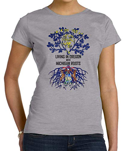 Tenacitee Women's Living in Oregon with Michigan Roots Crew Neck T-Shirt, 2X-Large, Heather Grey