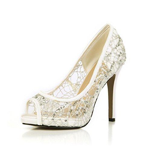 Best 4U® Sandalias de verano para mujer Faux Silk Lace Net Basic Pumps Peep toe 11CM Tacones altos 1CM Heels Cómodo suela de goma Zapatos de boda , Blanco , EU38