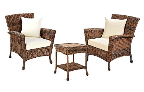 W Unlimited Rustic Collection Outdoor Furniture Light Brown Rattan Wicker Garden Patio Furniture Bistro Set, Lounger Deep Seating Sectional Cushions (3 Piece (3 Piece Sectional Arm Chair)