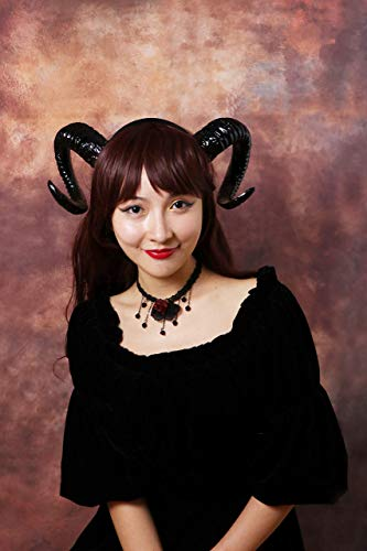 Black Horn Demon Nymph Ram Horn Headdress Diablo Halloween -