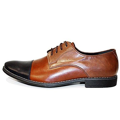 Modello Canvo - Cuero Italiano Hecho A Mano Hombre Piel Marrón Zapatos Vestir Oxfords - Cuero Cuero suave - Encaje