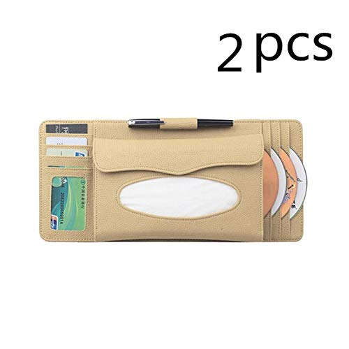 - LINGLONGQP Car Sun Visor Storage Box Multi-Function, (2 Pack) Multi-Function Large Capacity 4 in 1 with Tissue Box CD Storage Box, Suitable for car Sun Visor