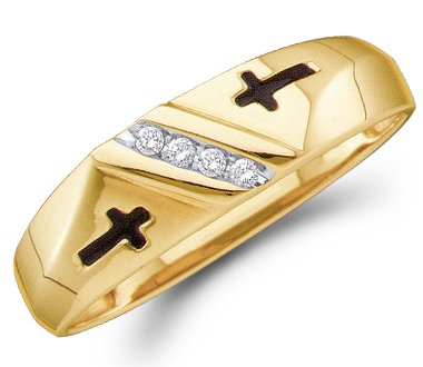 14k Gold Mens Diamond Cross (Size - 9 - 14k Yellow Gold Cross Four 4 Stone Channel Set Round Cut Mens Diamond Wedding Ring Band 6mm (.05 cttw))