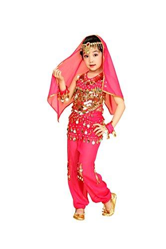 So Sydney Girls Kid Childrens Deluxe Belly Dancer Halloween Costume Complete Set (XL (14/16), Hot Pink) ()