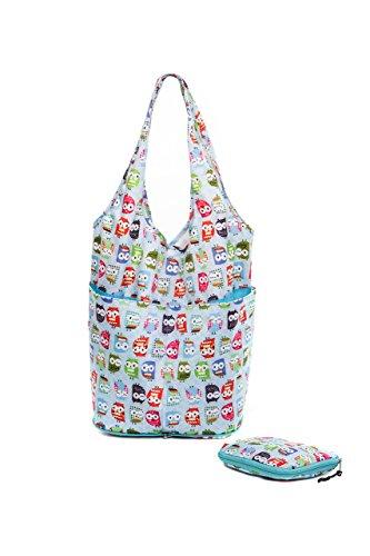 "The Very Lovely Bag Co. - ""Twit Twoo"" Bolsa de la compra plegable, Botón de cierre"