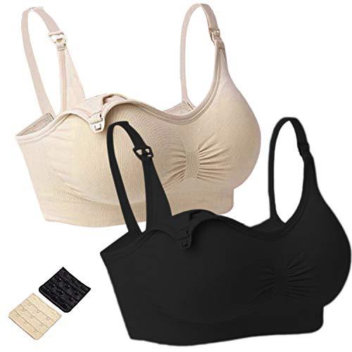 QINREN Pack of 2Womens Plus Size Maternity Nursing Bra Sleep Padded Wireless for Breastfeeding with Adjustable Straps (Black&Beige, X-Large)
