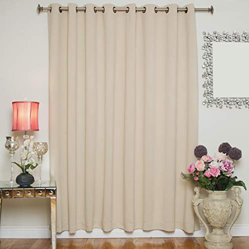 (Blackout Curtain Beige Wide Width Antique Brass Grommet Top Thermal Insulated 100 Inch Wide by 96 Inch Long Panel)