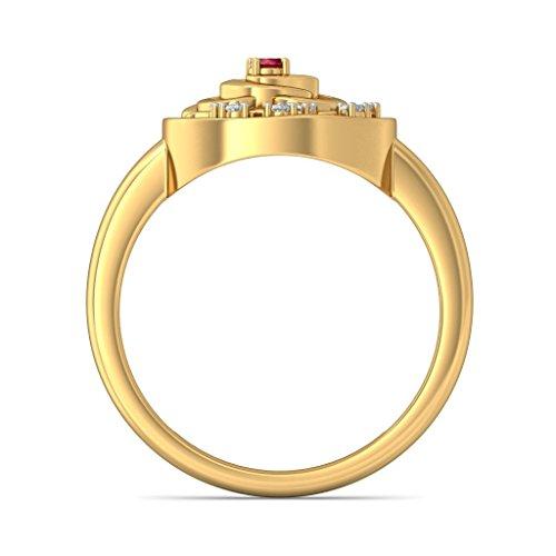 Or jaune 18K, 0.06CT TW Diamant Blanc (IJ   SI) Rubis et diamant Bague