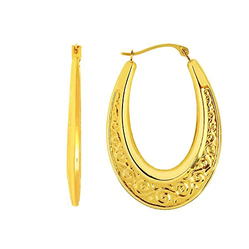 14k Yellow Gold Shiny Textured Graduated Oval Shape Hoop Earrings With Hinged Clasp