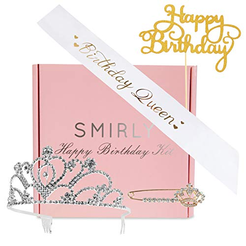 SMIRLY Happy Birthday Sash Birthday Accessories Birthday Queen Sash with Funny Saying in Gold Glitter Letters, Tiara, Pin and Cake Topper - Adult Birthday Party Accessories & Party Favors