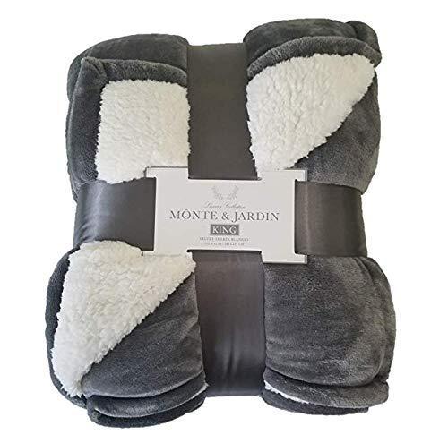 Monte & Jardin Luxury Linens Velvet Sherpa Reversible Blanket Super Sized (King 112 x 92, Silver Grey) (Luxury Linens)