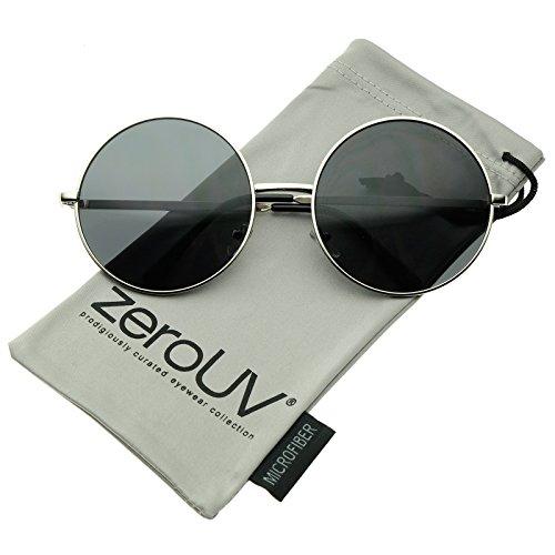 zeroUV - Super Large Oversize Slim Temple Round Sunglasses 61mm (Silver / - 61 Mm