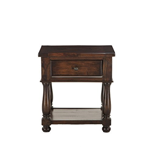 World Interiors Furniture Carmela Reclaimed Neem Wood Storage Side Table, Chestnut Finish