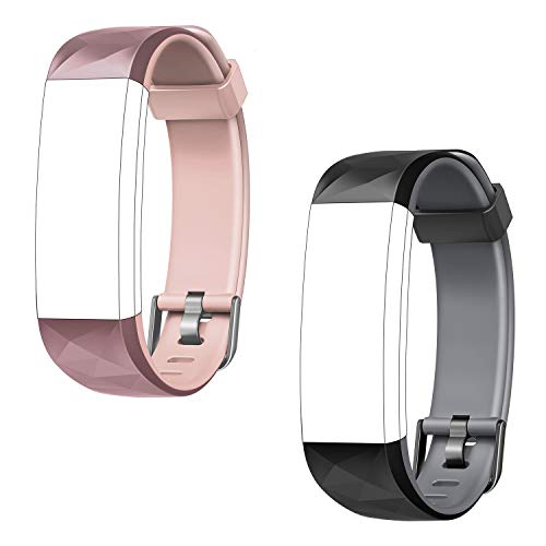 LETSCOM ID131Color HR Replacement Bands, Adjustable Accessory Bands Straps Fitness Tracker ID131Color HR, 2 Pack (Black-Gray, Pink)