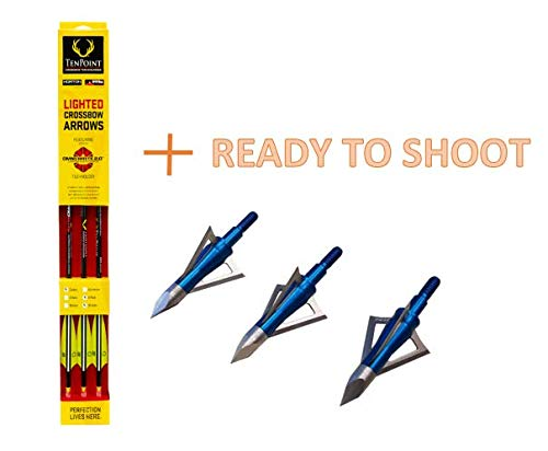Tenpoint Crossbow Bolt Arrow Lighted Pro Elite Carbon (HEA.638.6) + Excalibur Boltcutter 100 Grain Broadhead | Save More | Ready to Shoot Package