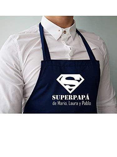 """Delantal cocina personalizado para papá,con la frase:"""" Superpapá de (nombre)"""". Varios colores a elegir. Hecho en España. Regalo/Bodas/San Valentín/Cumpleaños/El/Aniversario"""