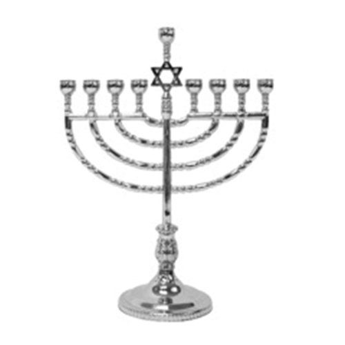 Rite-Lite Judaica Polished Silvertone Menorah