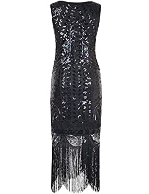 Kayamiya Women's 1920s Inspired Beaded Paisley Art Deco Fringe Flapper Dress