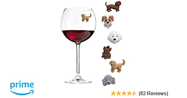Simply Charmed Magnetic Dog Wine Charms or Glass Markers for Stemless  Glasses - Great Birthday or Hostess Gift for Dog Lovers - Set of 6 Cute  Puppy