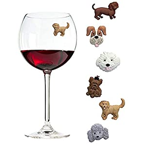 Simply Charmed Magnetic Dog Wine Charms or Glass Markers for Stemless Glasses - Great Birthday or Hostess Gift for Dog Lovers - Set of 6 Cute Puppy Glass Identifiers 2