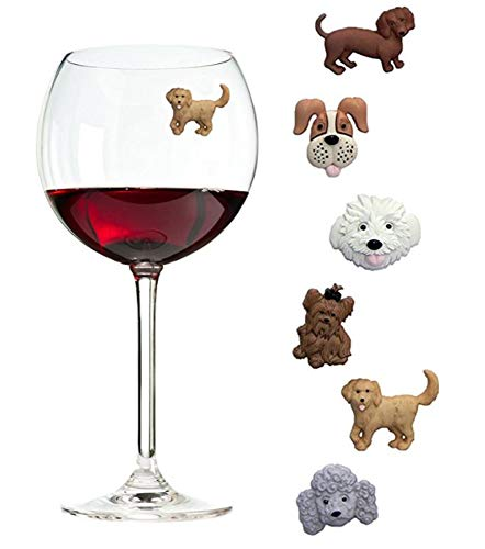 Simply Charmed Magnetic Dog Wine Charms or Glass Markers for Stemless Glasses - Great Birthday or Hostess Gift for Dog Lovers - Set of 6
