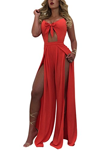 VamJump Ladies Night Club Chiffon Bandage Top Split Overlay Maxi Skirt Red S Double Slit Skirt
