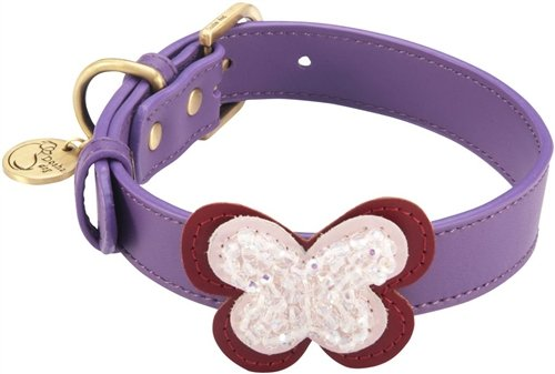 "14""-17"" Butterfly Purple Dog Collar 1"" wide, Large"